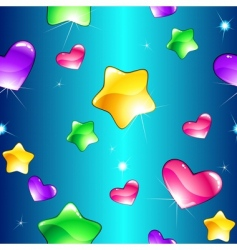 hearts and stars pattern vector image