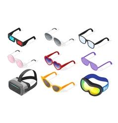 Isometric 3d set of glasses vector