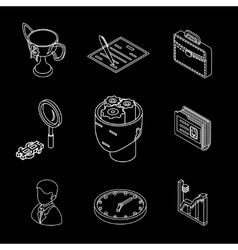 Line isometric business icons Head gears cup and vector image vector image