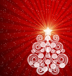 Red Christmas card with swirls tree and balls vector image