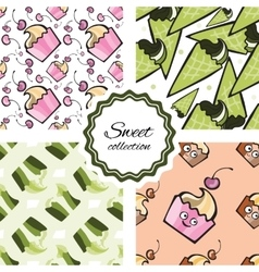 Seamless pattern with hand drawn cupcake and vector image