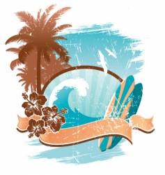 vintage surfing emblem vector image vector image