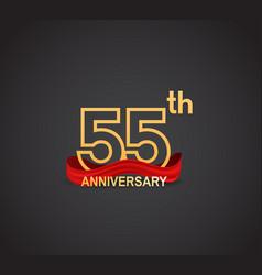 55 anniversary logotype design with line golden vector