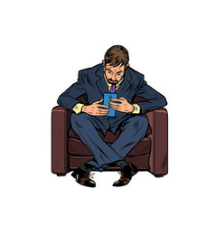 a male businessman uses a smartphone vector image