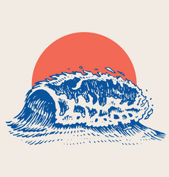 atlantic tidal waves and red sun vintage old vector image