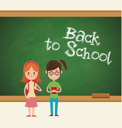 back to school girls student ready vector image