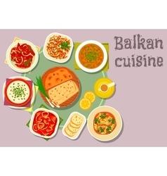 Balkan cuisine dishes for dinner menu design vector