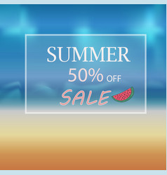 banner summer discount in a frame on the beach vector image