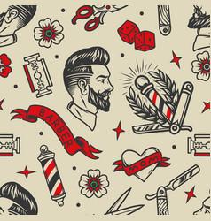 barbershop tattoos vintage seamless pattern vector image