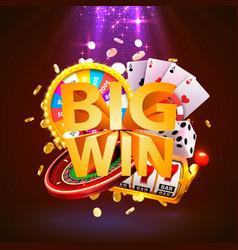 Big win casino collage game banner design vector