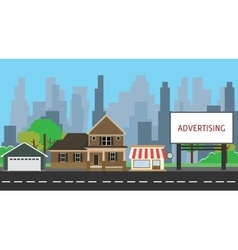 billboard advertising space on side way middle vector image