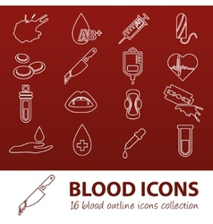 Blood outline icons vector