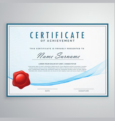 blue certificate design in elegant wave shape vector image