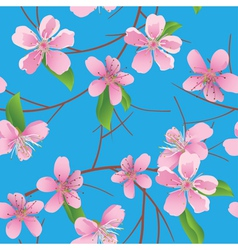 blue pattern with peach flowers vector image
