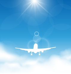 Blue sky and clouds with flying airplane vector