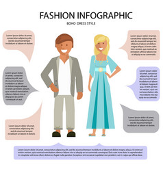 Boho dress style infographic vector