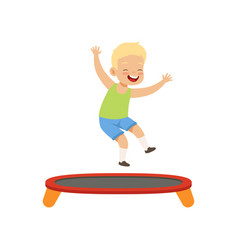 Boy playing trampoline kid having fun on vector