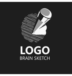 Brain sketch pencil icon logo vector image