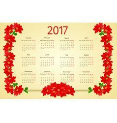 Calendar 2017 with red Dahlia vintage vector