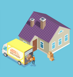 cargo delivery truck moving house image vector image