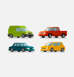 Cars icons set transport transportation vector