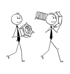 Cartoon of two businessmen carrying bolt and nut vector