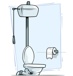 cartoon retro toilet with toilet paper icon vector image