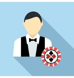 Casino croupier icon flat style vector