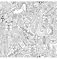 Cats go to school funny seamless pattern coloring vector
