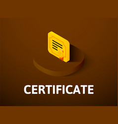 certificate isometric icon isolated on color vector image