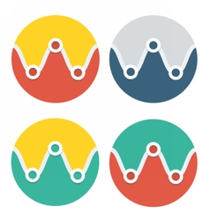 Circle flat icon collection vector