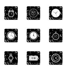 Clock icons set grunge style vector image