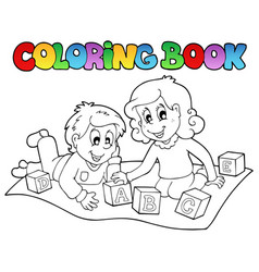 Coloring book with kids and bricks vector