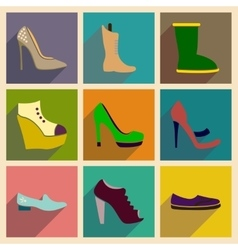 Concept of flat icons with long shadow footwear vector