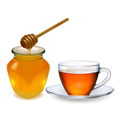 Cup of tea with honey vector