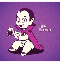 Cute baby vampire Dracula young nipple bottle vector