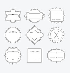Cute blank empty black line emblem frames set vector