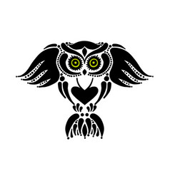 cute owl logo black silhouette for your design vector image