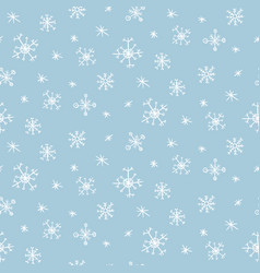 cute pattern with hand drawn snowflakes vector image