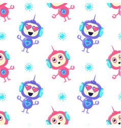 cute robots seamless pattern friendly alien or vector image