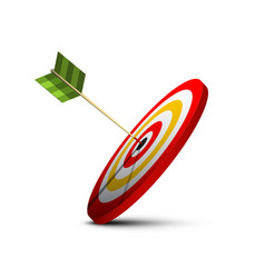 dart in center of target icon bullseye dartboard vector image