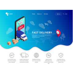 Delivery service landing with phone icons vector