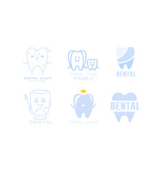 Dental clinic logo templates set family dental vector
