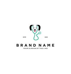 Dog health care logo design vector