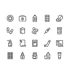 Drugs line icon medicine prescription pharmacy vector