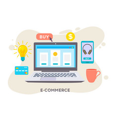 E-commerse online store e-commerce strategy flat vector