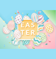 easter background with 3d ornate eggs text vector image
