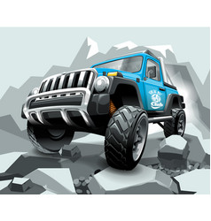 extreme blue off road vehicle suv on mountain vector image