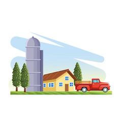 Farming house silo storehouse pickup truck trees vector