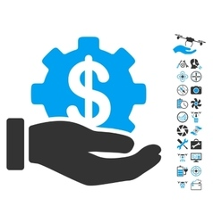 Financial Development Gear Hand Icon With Air vector